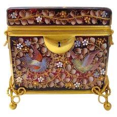 Antique Moser Glass Enameled Casket