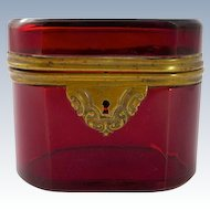 Antique French Ruby Glass Casket