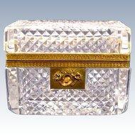 Antique Baccarat Cut Crystal Casket with Key