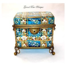 Antique Moser Turquoise Glass Enameled Casket