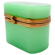 Antique Miniature French Green Opaline Glass Box with Dore Bronze Mounts.