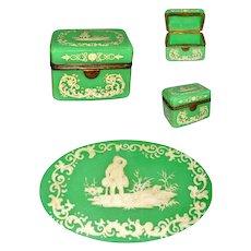 Antique Bohemian Green Opaline Glass Enameled Casket