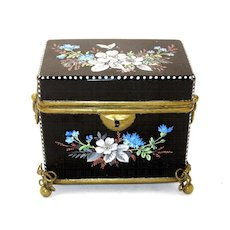 Antique French Black Opaline Casket