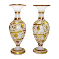 Pair Baccarat White Opaline Vases