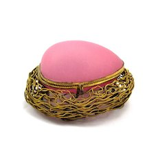 Antique French Pink Opaline Glass Egg Box