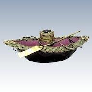 Novelty Amethyst Glass Boat Inkwell