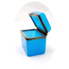 A Miniature French 19th Century Blue Opaline Glass Box