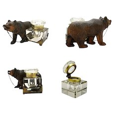 Antique Swiss Black Forest Bear Inkwell