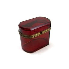 Antique Miniature French Ruby Red Box