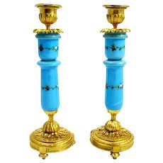 Antique Pair of French Opaline Glass and Bronze Candlesticks