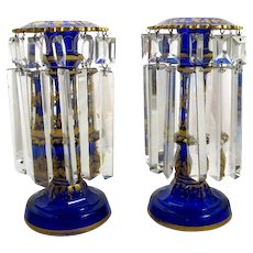 Antique Pair Bohemian Cobalt Blue Glass Lustres