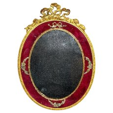 Antique French 19th century Red Velvet Frame with Dore Bronze Bow