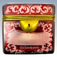 Antique Bohemian Ruby Red Cut to Clear Spa Hinged Box