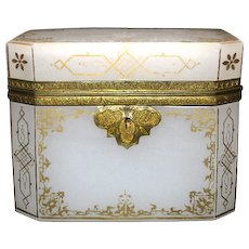 A Large French 19th Century White Opaline Glass Box