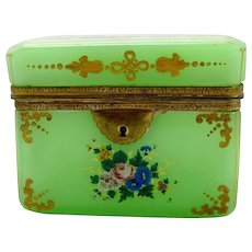 Bohemian 19th Century Green Opaline Box Pretty Flower Enamel