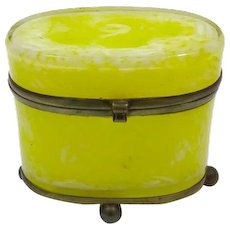 Rare Antique French Yellow Opaline Glass Casket Box
