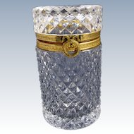 French late 19th Century Diamond Cut Crystal Glass box with Dore Bronze Mounts.