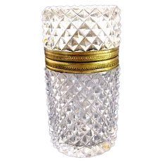 Antique French Diamond Cut Crystal Glass Casket Box with Dore Bronze Mounts.