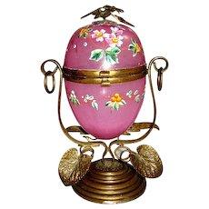 Large Antique French Opaline Glass Egg Casket