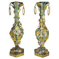 Pair of High Quality French Dore Bronze and Crystal Vases