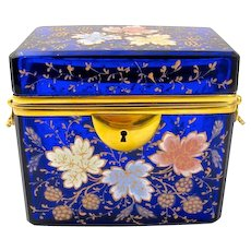 Antique MOSER Cobalt Blue Box with Polychrome Enameled Oak Leaves