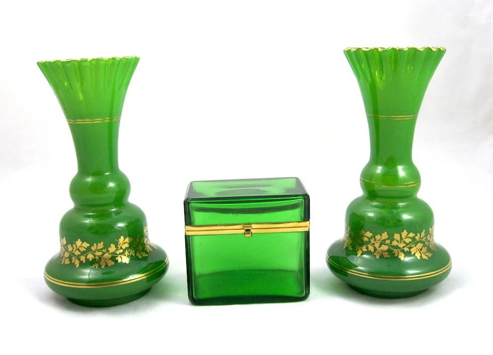 antique pair of green opaline glass vases with delicate enamelling    grand tour antiques