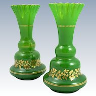 Antique Pair of Green Opaline Glass Vases with Delicate Enamelling.