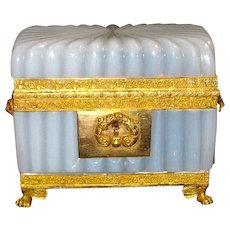Antique Early French High Quality Opaline Casket