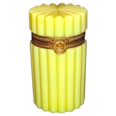 RARE Antique French 19th century Yellow Opaline Casket