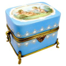 A Charming French 19th Century Cherub Opaline Box - LARGE