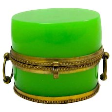Antique French Green Opaline Glass Casket Box with Loop Handles