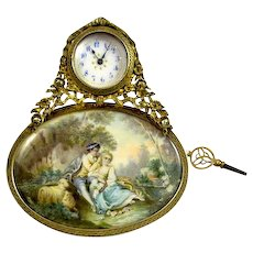 French Silver Gilt Clock and Letter Clip with Miniature