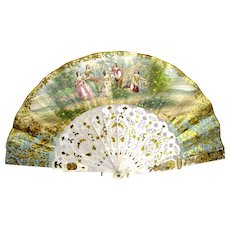 Antique French Hand Painted Fan with Mother or Pear Handle.