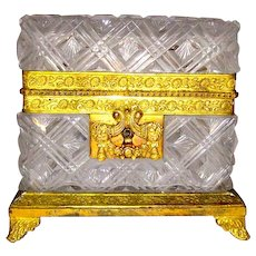 Antique Circa 1820 Fine Quality Cut Crystal Casket with Fine Dore Bronze Mounts