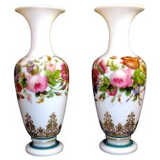 Stunning Baccarat Hand Painted Flower Opaline Vases