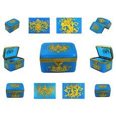Antique Blue Opaline Enamelled Casket Box