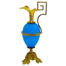 Antique Palais Royal Opaline Glass Egg Shaped Ewer Box