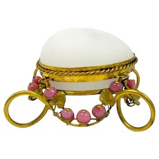 Palais Royal Antique Opaline Glass Egg Box with Pink Opaline Beads