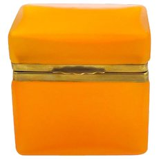 Unusual Antique Tangerine Glass Casket
