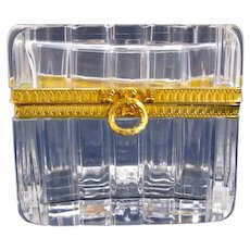Antique Baccarat Cut Crystal Glass Casket Box