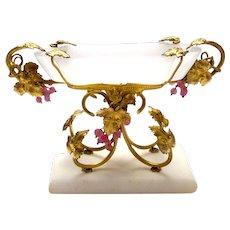 Palais Royal White Opaline Glass Dish Marble Base