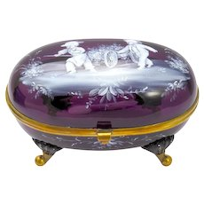 Unusual Antique Amethyst Glass Mary Gregory Casket Box