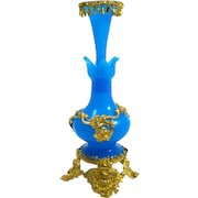 Tall Palais Royal Blue Opaline Glass Scent Bottle with Fine Dore Bronze Mounts.