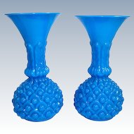 Pair of Antique French Blue Opaline Glass 'Pineapple' Vases.