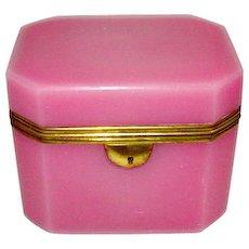 Rare Antique French Pink Opaline Glass Casket