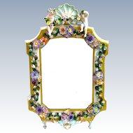 Antique Porcelain Mirror with Floral Decoration
