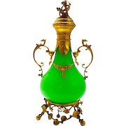 Tall Antique French Palais Royal Green Opaline Glass Perfume Bottle with Dore Bronze Mounts.