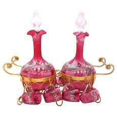 Antique French Cranberry Glass Double Decanter Set Decorated with Lily of the Valley