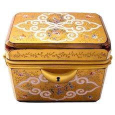 Stunning Antique Red Enamelled Glass Moser Casket Box