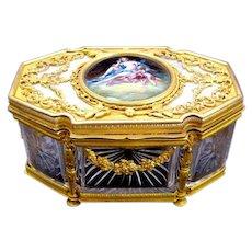 Empire Palais Royal Cut Crystal Glass Casket Box with Enamelled Plaque.